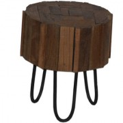 Pincha Art & Crafts Brown & Black Color Wooden + Iron Stool