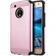 Funda Case Para Motorola Moto G5 (No Plus) Doble Protector De Uso Rudo Armor Con Aspecto Metalico - Rose Gold