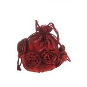 Tasje bordeaux rood met roosjes