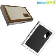 Billionbag New Steel Leather Black Metal Business & Steel White Leather Stainless ATM 6 Card Holder(Set of 2, Multicolor)