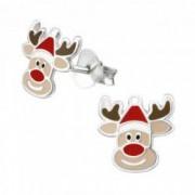 Cercei din argint 925 pentru copii Reindeer XMAS multicolor CADOU cutie bijuterii Girly Collection by Boutique 23