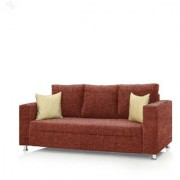 Earthwood - Fully Fabric Upholstered Three-Seater Sofa - Premium Valencia Orange