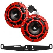 HELLA Supertone 12V High / Low Tone Twin Horn Kit with Perrin Bracket for 2008-14 Subaru WRX STI (Red)