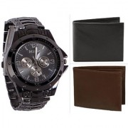 Jack Klein Combo of Round Dial Black Strap Stylish Analog Wrist Watch With Black And Brown Color Wallets