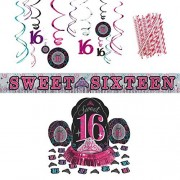 Cedar Crate Market Sweet Sixteen Party Decorations Supplies Pack: Straws, Table Decorating Kit, Hanging Swirls, And Banner