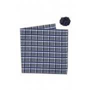 Original Penguin Molter Plaid Pocket Square Lapel Pin Set NAVY