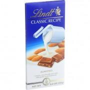 Lindt Chocolate Bar - Milk Chocolate - Classic Recipe - Almond - 4.4 oz Bars - Case of 12