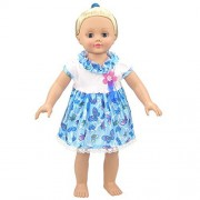 Summer Bitty Baby Doll Clothes Summer Beautiful Butterflies Doll Clothing Dresses for 14 - 16 Inches American Girl Dolls , (Blue)