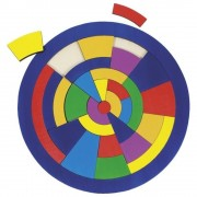 Puzzle rotund din lemn - Cerc colorat, 29 piese
