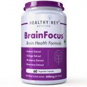 HealthyHey Nutrition BrainFocus - Natural Brain Health Formula for Memory Focus - 60 Veg Capsules