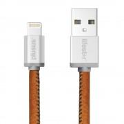 PlusUs LifeStar Handcrafted Lightning Cable - ръчно изработен сертифициран Lightning кабел за iPhone, iPad и iPod (25см.) (сребрист-кафяв)