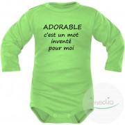 SiMEDIO Body bébé message : ADORABLE c'est un mot inventé pour moi - Vert Longues 0-1 mois