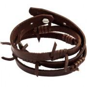 The Jewelbox Handmade Genuine Drak Brown Leather Free Size Wrist Band Biker Bracelet For Men