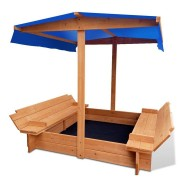 Keezi Wooden Outdoor Sand Box Set Sand Pit- Natural Wood [SAND-CANOPY-120]