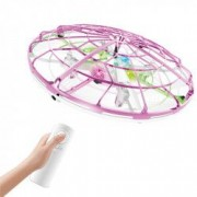 Drona OZN disc zburator interactiv cu telecomanda si senzori infrarosu lumina LED roz