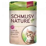 Schmusy Nature Kitten 12x100 g - Kitten telecí, drůbeží, těstoviny