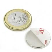 Magnet neodim disc cu autoadeziv, 20 mm, putere 2 kg