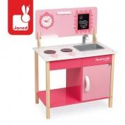 JANOD Drewniana kuchnia dla dzieci różowa Mademoiselle - zlew, kuchenka, 3+,