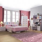 Set mobilier Piano din MDF pentru camera copii 4 piese: pat 120 x 190cm, noptiera, dulap 3 usi, birou -cod 8860