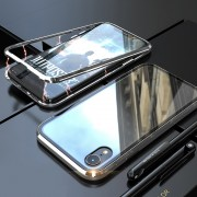 Detachable Magnetic Metal Frame + Tempered Glass Back Protection Hard Cover for iPhone XR 6.1 inch - Silver