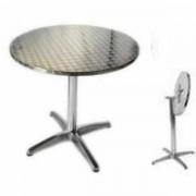 MondoArreda R60-P -Mesa De Aluminio Redonda Diam.60cm, Encimera Plegable, Soporte Central De 4 Patas, Para Bar, Restaurante, Piscina, Hotel