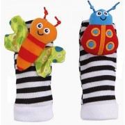Kuhu Creations Cute Stylish Soft Baby Rattles.(2 Units Style B Multicolor 2 Foot Rattle)