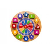 Wooden Shape Sorting Clock for Children   Wood Educational Clock Puzzle with Numbers & Shapes   Teach Your Kid to Tell Time Through Fun & Play  3 Years Old & up