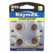 Raymax Batteries Batterie a Bottone Litio CR1616 (set 4 pz)