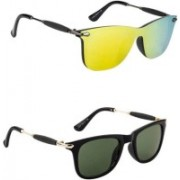 layd Wayfarer, Shield Sunglasses(Yellow, Green)