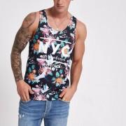 River Island Mens Black 'NYC' crane print vest top (Size L)