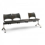 Kovo Praktik Plastové lavice VISIO, 3-sedák + stolek, chromované nohy šedá