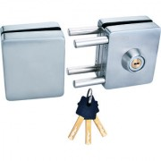 Spider Glass Door Lock Square Lock with SS Finish One Side Knob One Side Key( GDL03R)