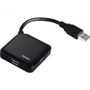 Хъб USB 3.0 HAMA 1:4, захранване, Черен