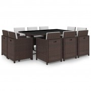 vidaXL Set mobilier de exterior 31 piese, poliratan, maro