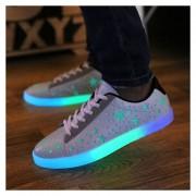 Flash Zapato Casual Unisex Con LED Creativo Tenis Casuales Hombre Moda Estrella Blanco