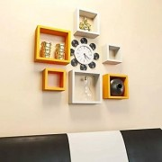 Onlineshoppee Square Nesting MDF Wall Shelf Size(LxBxH-10x4x10) Inch - Yellow White