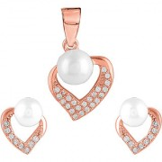92.5 Sterling Silver Cubic Zirconia Studded Pearly Heart Pendant Earrings Set for Women and Girls (Rose Gold/ Silver)
