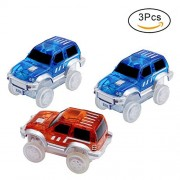 HOERIE Car Track Replacement Toy Car (3-Pack) Glow in the Dark Racing Track Accessories Compatible with Most Tracks,Boys and Girls