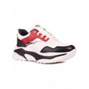 Дамски маратонки в червено, бяло и черно