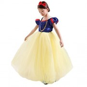 CQDY Snow White Costume Classic Fancy Dress Fairy Princess Dressing Up Cosplay with Headband