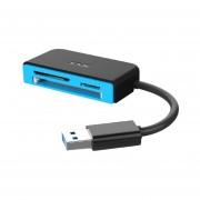 SSK SCRM330 USB3.0 Velocidad Super-Lector De Tarjetas Todo-en-1 Lector De Tarjetas De Memoria Flash Azul Y Negro