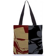 Snoogg Iron Man Batman Face Mix Tote Bag