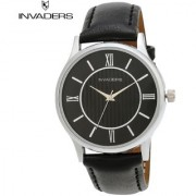 Invaders Round Black Leather Quartz Watches for Men's