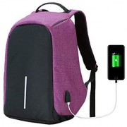 LOF Anti Theft Backpack Waterproof Business Laptop Bag with USB Charging Port for 15 Laptop Camera and Mobile - Purple