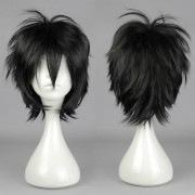 Black Straight Short Cosplay Wig Synthetic of High-Temperature Resistant Anime Costume Hair
