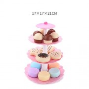Alician Lovely 3-Tier Stacked Dessert Tower Simulation Cake Macarons Biscuits Toys Set For Kids