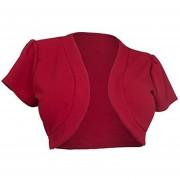 Suéter Abierto Corta Y Pequeña Sin Botones Para Mujer - Rojo