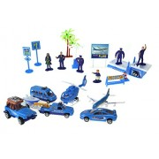 Tropical Airport Toy Vehicle Playset w/ 4 Car Vehicles, Helicopter, Jet, 5 Figures, & Accessories