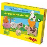 Joc de constructie cu zaruri Haba Primele mele jocuri-Piramida animalelor 2ani+