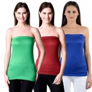NumBrave Womens Green Maroon Blue Tube Top (Combo of 3)